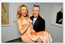 JPG and Kylie Minogue at his exhibition launch at Grand Palais in Paris