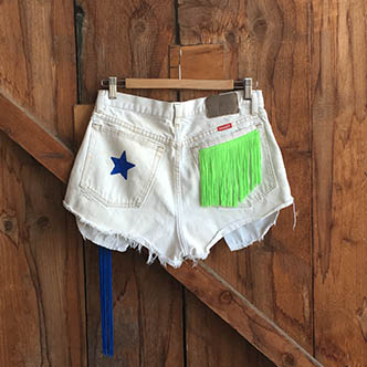 Upcycled Denim Short with Fluo Fringes by Mestieri-Lab